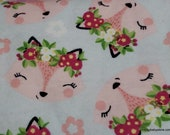 Flannel Fabric - Floral Foxy - By the yard - 100% Cotton Flannel