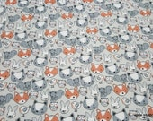 Flannel Fabric - Playful Cuties Animal Faces Gray - By the yard - 100% Premium Cotton Flannel