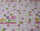 Flannel Fabric - Sweet Bee - By the yard - 100% Cotton Flannel