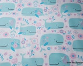 Flannel Fabric - Whales and Flowers - By the yard -100% Cotton Flannel