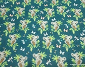 Flannel Fabric - Koalas in Trees - By the yard - 100% Cotton Flannel