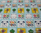 Flannel Fabric - Big Smiles Tiny Toes - By the Yard - 100% Cotton Flannel