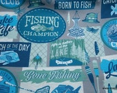 Flannel Fabric - Gone Fishing - By the Yard - 100% Cotton Flannel