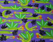 Flannel Fabric - Hungry Alligators - By the yard - 100% Cotton Flannel