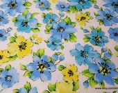 Flannel Fabric - Blue Yellow Hibiscus - By the yard - 100% Cotton Flannel