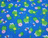 Flannel Fabric - Happy Frogs and Lilypads - By the yard - 100% Cotton Flannel