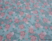Flannel Fabric - Roses on Blue with Horses - By the yard - 100% Cotton Flannel