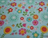 Flannel Fabric - Bloom Where You're Planted Main Aqua - By the yard - 100% Cotton Flannel