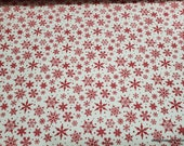 Christmas Flannel Fabric - Snowflakes Cream - By the yard - 100% Cotton Flannel