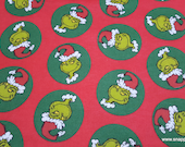 Christmas Character Flannel Fabric -Grinch Tossed - By the yard - 100% Cotton Flannel