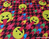 Flannel Fabric - Emoticon Houndstooth - By the yard - 100% Cotton Flannel