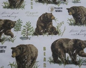 Flannel Fabric - Bear Wildlife - By the yard - 100% Cotton Flannel