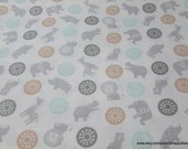 Flannel Fabric - Baby's Zoo Toss - 1 yard - 100% Cotton Flannel