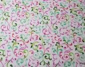 Flannel Fabric - Colored Vines - By the yard - 100% Cotton Flannel