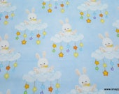 Flannel Fabric - Floppy Bunny Clouds - By the yard - 100% Cotton Flannel