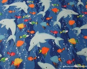Flannel Fabric - Dolphins and Sea Friends - By the yard - 100% Cotton Flannel