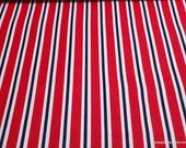 Flannel Fabric - Red White Blue Stripe - By the yard - 100% Cotton Flannel