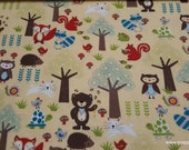 Flannel Fabric - Woodland Forest Friends - By the yard - 100% Cotton Flannel
