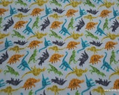 Flannel Fabric - Dinosaurs Tossed - By the yard - 100% Cotton Flannel