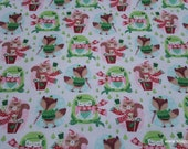 Christmas Flannel Fabric - Festive Animals with Presents - By the yard - 100% Cotton Flannel