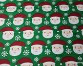 Christmas Flannel Fabric - Santa with Snowflakes - By the yard - 100% Cotton Flannel