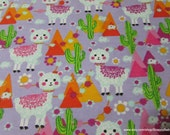 Flannel Fabric - Llama Drama - By the yard - 100% Cotton Flannel
