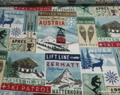 Flannel Fabric - Ski Trip Patch - By the yard - 100% Cotton Flannel