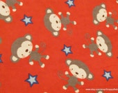 Flannel Fabric - Monkeys and Stars on Red - By the yard  - 100% Cotton Flannel