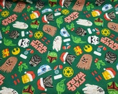 Christmas Character Flannel Fabric - Star Wars Holly Jolly Galaxy - By the yard - 100% Cotton Flannel