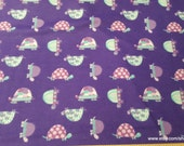Flannel Fabric - Purple Patterned Turtle - By the yard - 100% Cotton Flannel