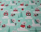 Christmas Flannel Fabric - Winter Polar Bear - By the yard - 100% Cotton Flannel