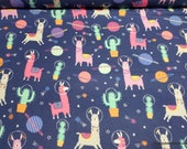 Flannel Fabric - Llamas in Space - By the yard - 100% Cotton Flannel