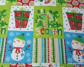 Christmas Flannel Fabric - Tis the Season Patchwork - By the yard - 100% Cotton Flannel