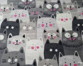 Flannel Fabric - Happy Gray Cats - By the yard - 100% Cotton Flannel