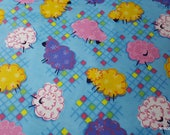 Flannel Fabric - Sheep on Blue - By the yard - 100% Cotton Flannel