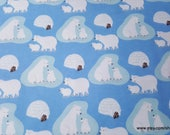 Christmas Flannel Fabric - Polar Bears and Igloos - By the yard - 100% Cotton Flannel