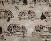 Christmas Flannel Fabric - Holiday Campers Dog - By the Yard - 100% Cotton Flannel