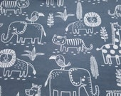 Flannel Fabric - Sweet Safari Animal Outlines - By the yard - 100% Cotton Flannel