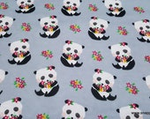 Flannel Fabric - Pandas and Flowers - By the yard - 100% Cotton Flannel