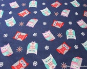 Flannel Fabric - Navy Nordic Owl - By the yard - 100% Cotton Flannel