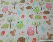 Flannel Fabric - Owl Friends Cream - By the yard - 100% Cotton Flannel
