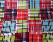 Flannel Fabric - Transport Madras Plaid - By the yard - 100% Cotton Flannel