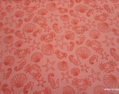 Flannel Fabric - Coral Shells - By the yard - 100% Cotton Flannel