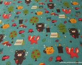 Flannel Fabric - Bear Country Teal - By the yard - 100% Cotton Flannel