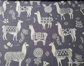Flannel Fabric - Peruvian Llamas Gray - By the yard - 100% Cotton Flannel