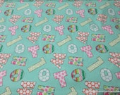 Flannel Fabric - Letters Birdwood Turquoise - By the yard - 100% Cotton Flannel