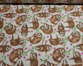 Flannel Fabric - Sloths - By the Yard - 100% Cotton Flannel