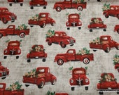 Flannel Fabric - Country Red Trucks - By the yard - 100% Cotton Flannel