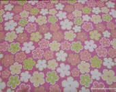Flannel Fabric - Floral on Pink - By the yard - 100% Cotton Flannel