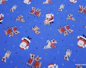 Character Christmas Flannel Fabric - Rudolph and Santa - By the Yard - 100% Cotton Flannel